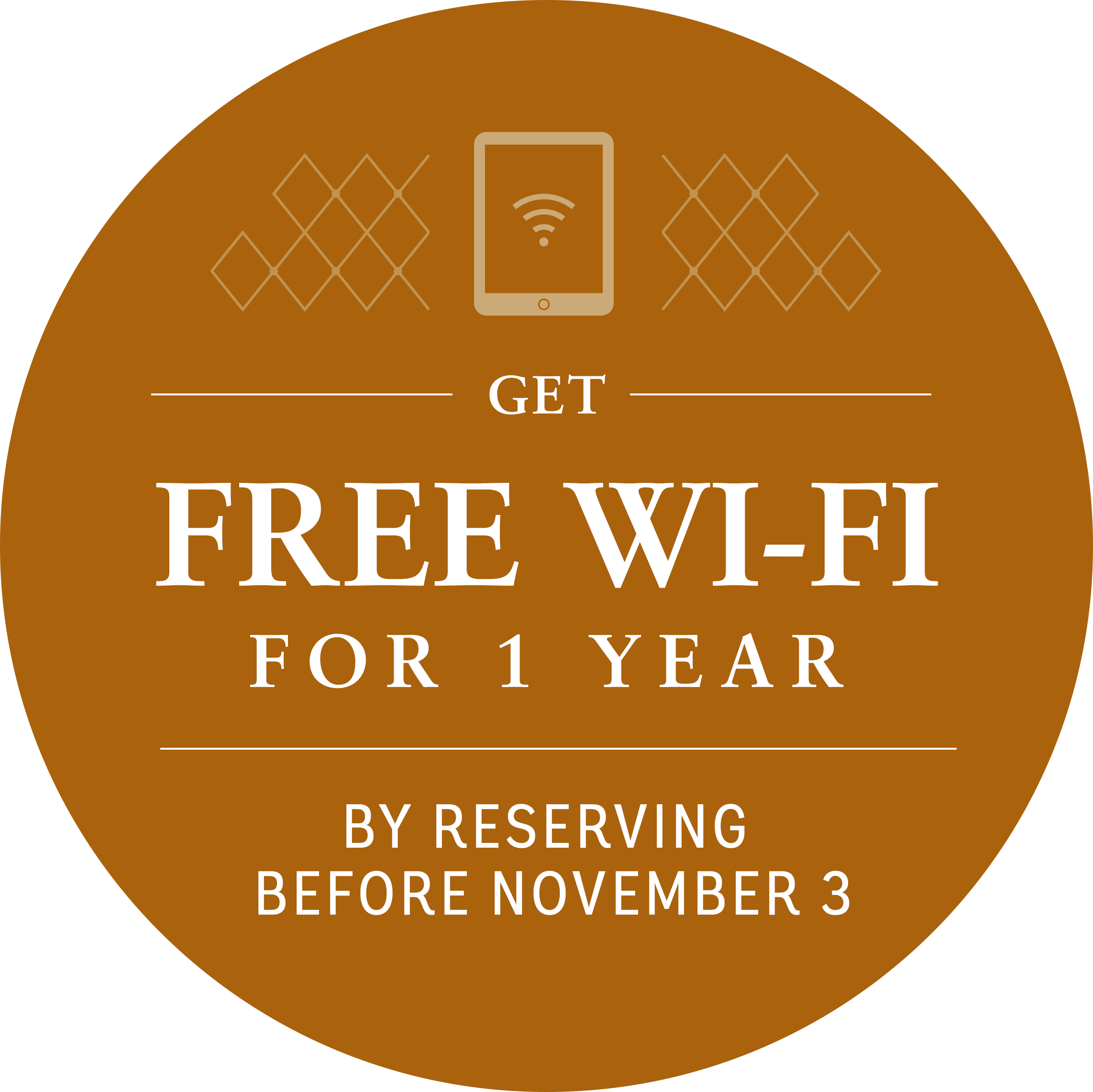 Get free wifi for 1 year by reserving before november 3