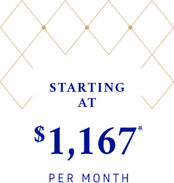 Starting at $ 1,167* per month