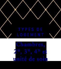 Type offerts : 2 1/2 - 3 1/2 - 4 1/2 - Chambre et Unité de soins
